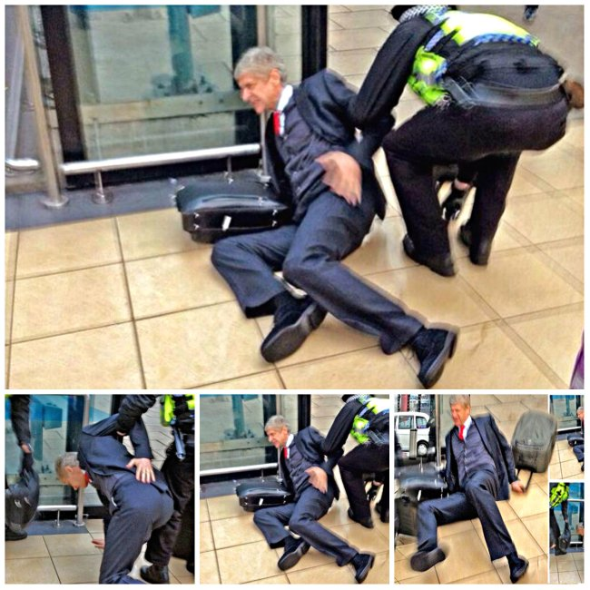 Bad day in the office arsene wenger falls after losing 5 - British transport police press office ...